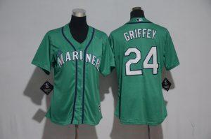 Womens 2017 MLB Seattle Mariners 24 Griffey Green Jerseys