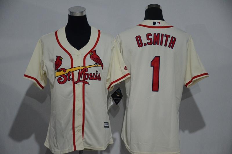 Womens 2017 MLB St. Louis Cardinals 1 O.Smith Gream Jerseys