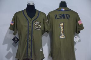 Womens 2017 MLB St. Louis Cardinals 1 O.Smith Green Salute to Service Stitched Baseball Jersey