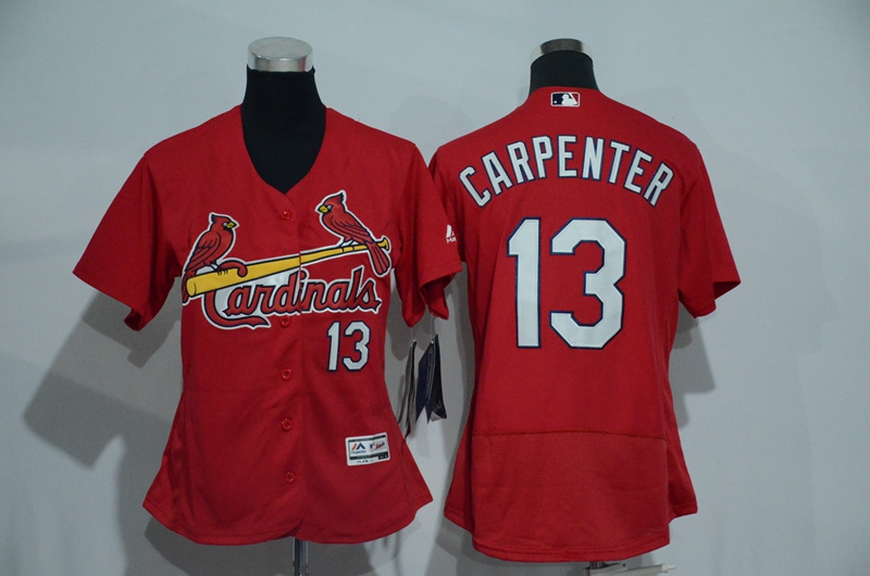 Womens 2017 MLB St. Louis Cardinals 13 Carpenter Red Elite Jerseys