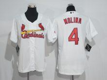 Womens 2017 MLB St. Louis Cardinals 4 Molina White Jerseys