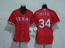 Womens 2017 MLB Texas Rangers 34 Ryan Red Jerseys