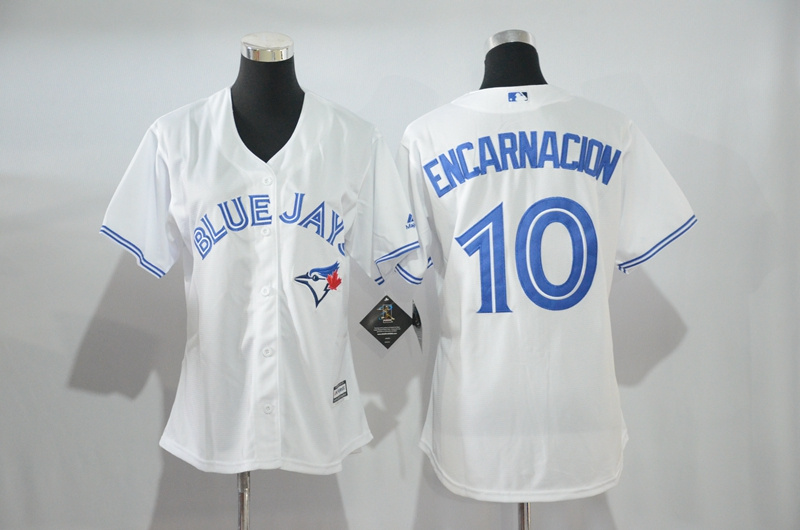 Womens 2017 MLB Toronto Blue Jays 10 Encarnacion White Jerseys