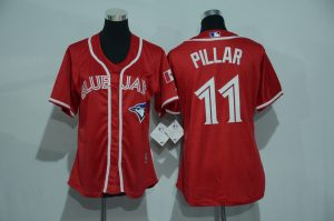 Womens 2017 MLB Toronto Blue Jays 11 Pillar Red Jerseys