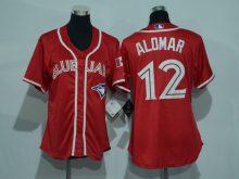 Womens 2017 MLB Toronto Blue Jays 12 Alomar Red Jerseys