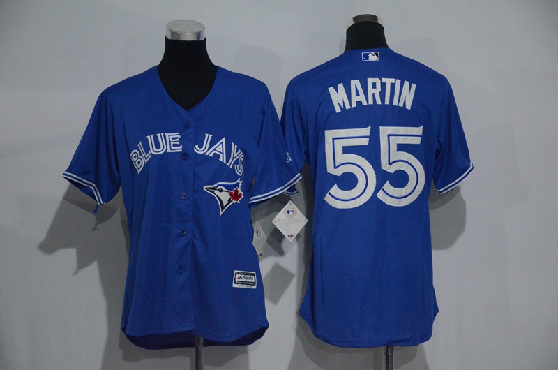 Womens 2017 MLB Toronto Blue Jays 55 Martin Blue Jerseys