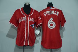 Womens 2017 MLB Toronto Blue Jays 6 Stroman Red Jerseys
