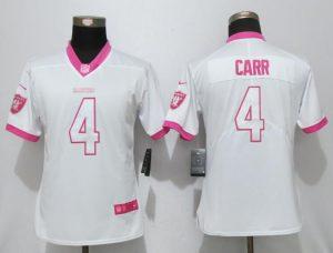 Womens 2017 Oakland Raiders 4 Carr Matthews White Pink Stitched New Nike Elite Rush Fashion Jersey