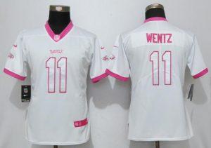 Womens 2017 Philadelphia Eagles 11 Wentz Matthews White Pink Stitched New Nike Elite Rush Fashion Jersey