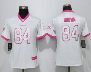 Womens 2017 Pittsburgh Steelers 84 Brown Matthews White Pink Stitched New Nike Elite Rush Fashion Jersey