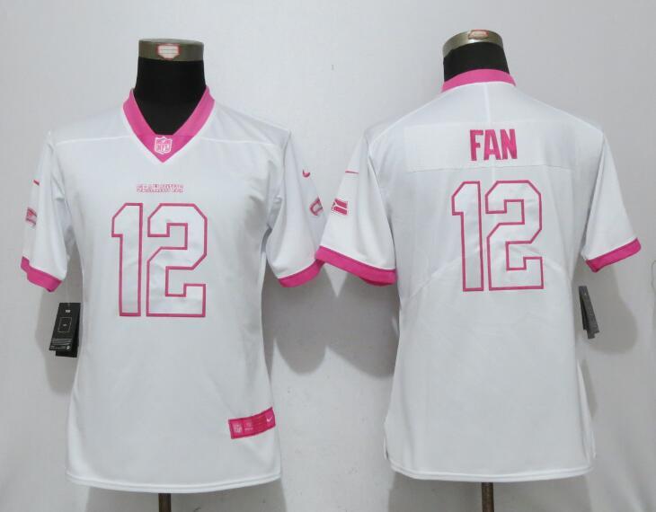 Womens 2017 Seattle Seahawks 12 Fan Matthews White Pink Stitched New Nike Elite Rush Fashion Jersey