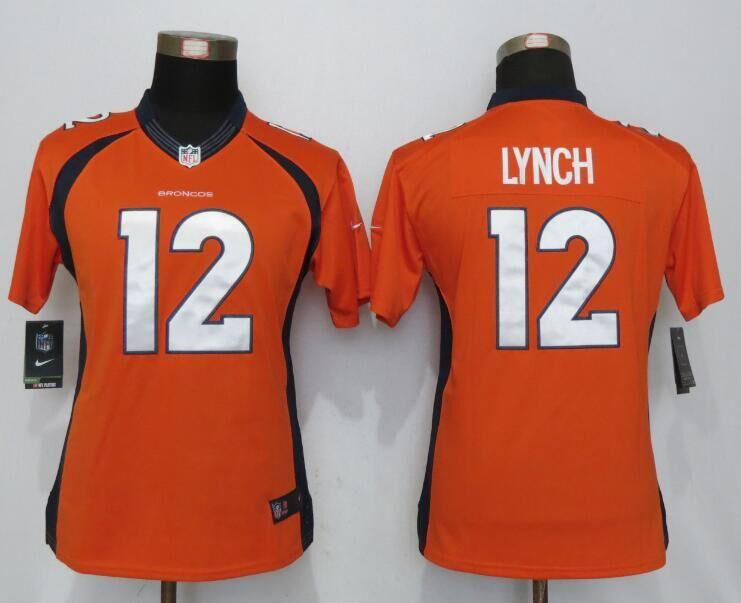 Womens Denver Broncos 12 Lynch Orange Nike Elite Jersey
