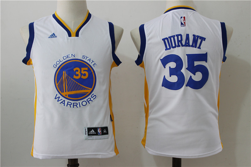 Youth 2016 NBA Golden State Warriors 35 Kevin Durant White Jerseys