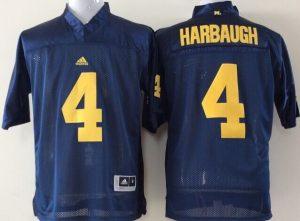 Youth 2016 NCAA Michigan Wolverines 4 Harbaugh Blue Jerseys