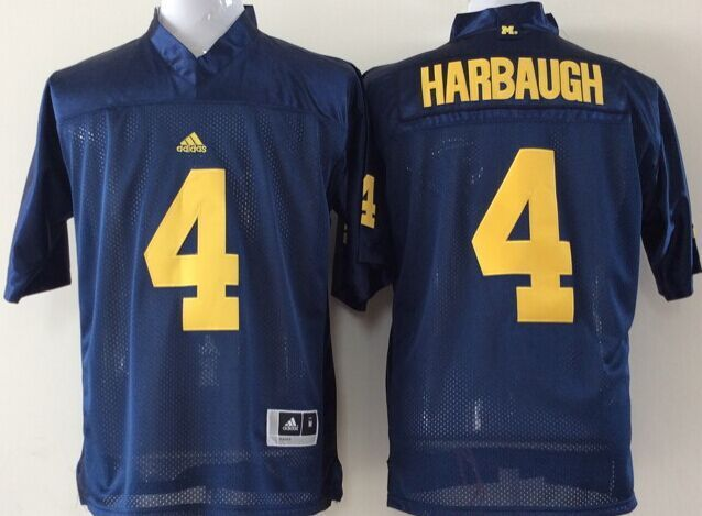 Youth 2016 NCAA Michigan Wolverines 4 Harbaugh Blue Jerseys