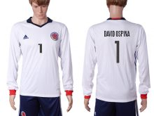 2016-2017 National Colombia Home 1 DAVID OSPINA long sleeve White Soccer Jersey