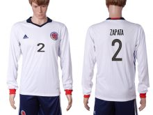 2016-2017 National Colombia Home 2 ZAPATA long sleeve White Soccer Jersey