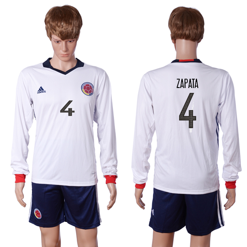 2016-2017 National Colombia Home 4 ZAPATA long sleeve White Soccer Jersey