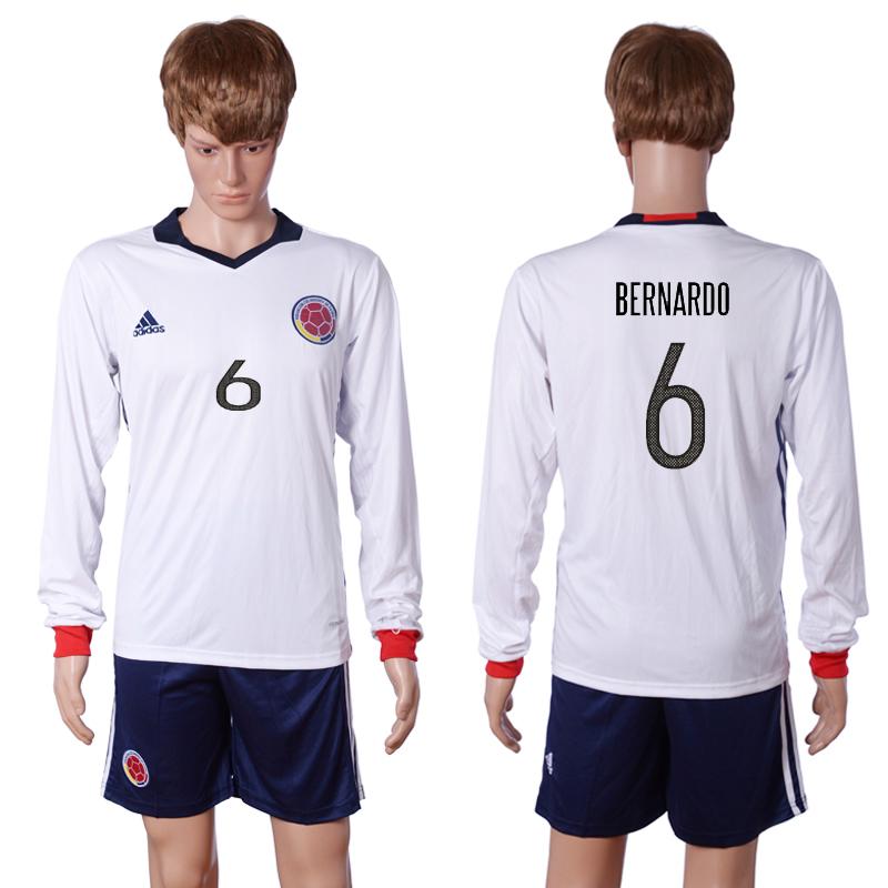 2016-2017 National Colombia Home 6 BERNARDO long sleeve White Soccer Jersey