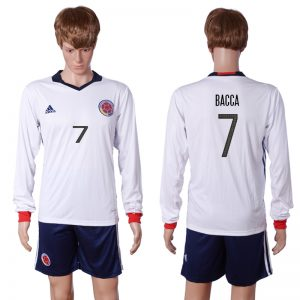 2016-2017 National Colombia Home 7 BACCA long sleeve White Soccer Jersey