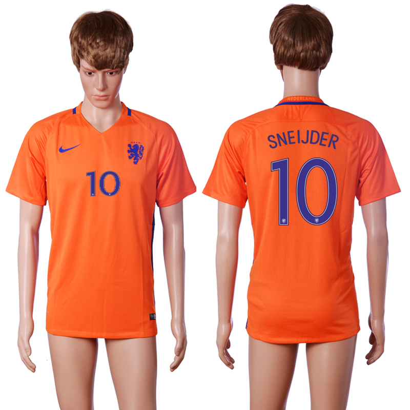 2016-2017 National Netherlands home 10 SNEIJDER Orange AAA+ soccer jerseys