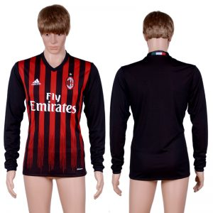 2016-2017 club A.C. Milan home Blank long sleeve Black AAA+ Soccer Jersey