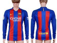 2016-2017 club Barcelona home long sleeve Blank Blue AAA+Soccer Jersey