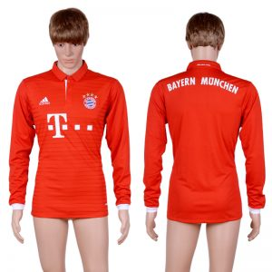 2016-2017 club Bayern Munich home long sleeve Blank Red AAA+Soccer Jersey