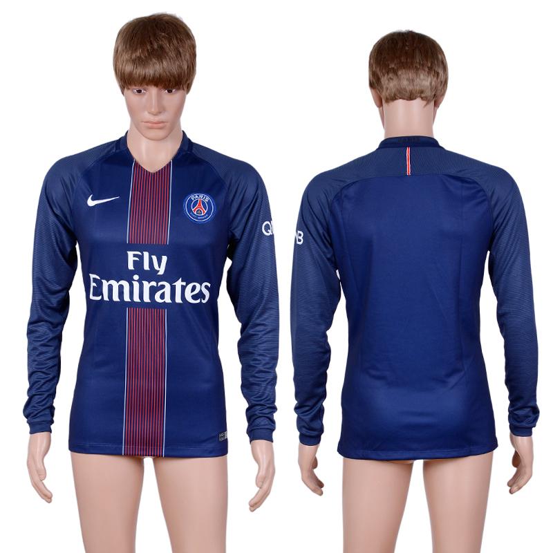 low priced 23706 d7086 2016-2017 club Paris saint germain home long sleeve Blue AAA ...