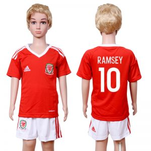 2016-2017 club Welsh home kids 10 Red Soccer Jersey