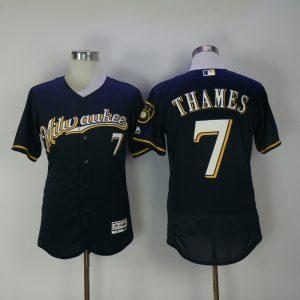 2017 MLB Milwaukee Brewers 7 Thames Blue Elite Jerseys1