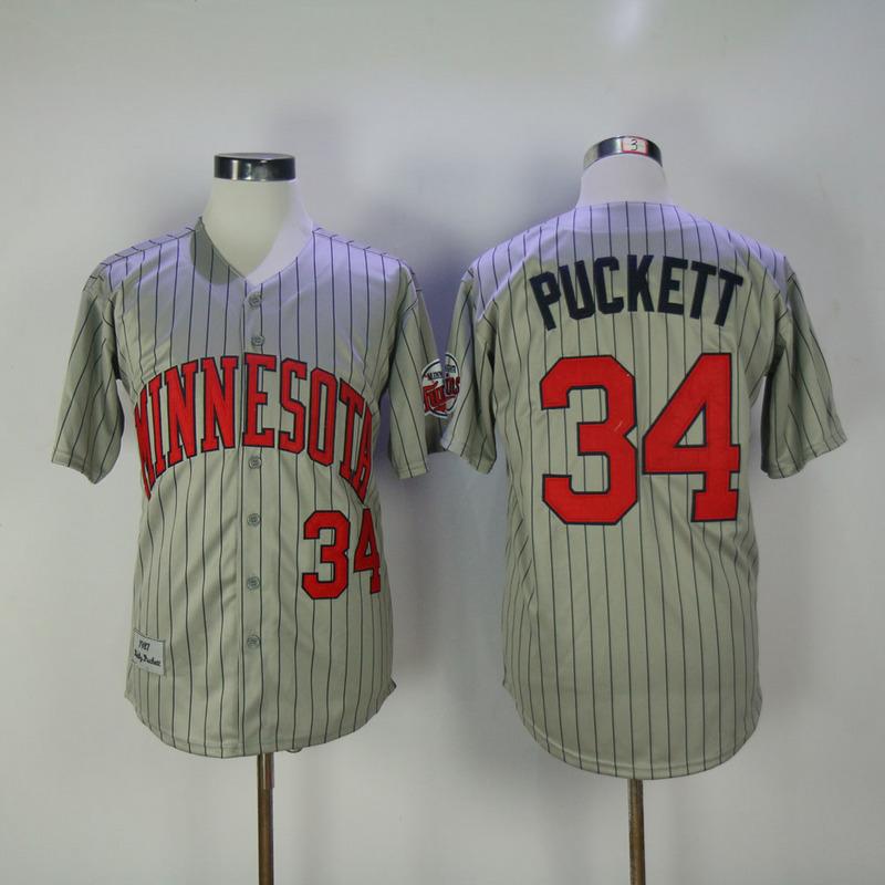 2017 MLB Minnesota Twins 34 Puckett Grey Throwback Jerseys