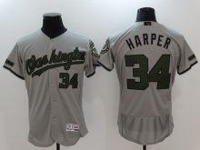 2017 MLB Washington Nationals 34 Harper Grey Elite Commemorative Edition Jerseys