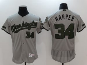 2017 MLB Washington Nationals 34 Harper Grey Elite Commemorative Edition Jerseys