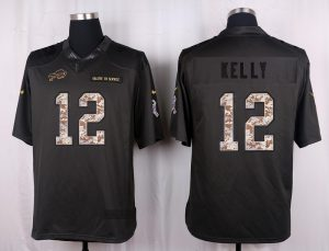 Buffalo Bills 12 Kelly 2016 Nike Anthracite Salute to Service Limited Jersey