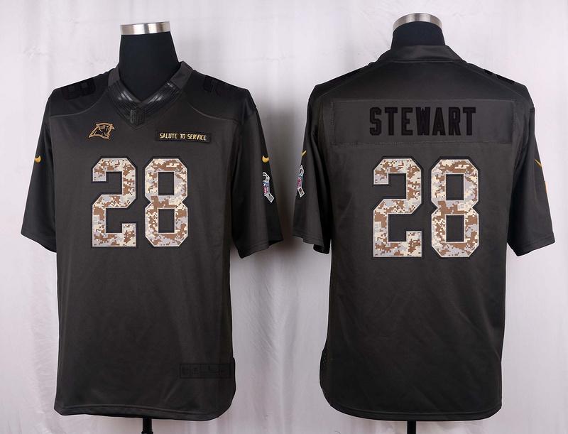 Carolina Panthers 28 Stewart 2016 Nike Anthracite Salute to Service Limited Jersey