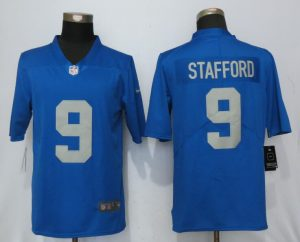 Detroit Lions 9 Stafford Blue Throwback Retired Player Vapor Untouchable Nike Limited Jersey