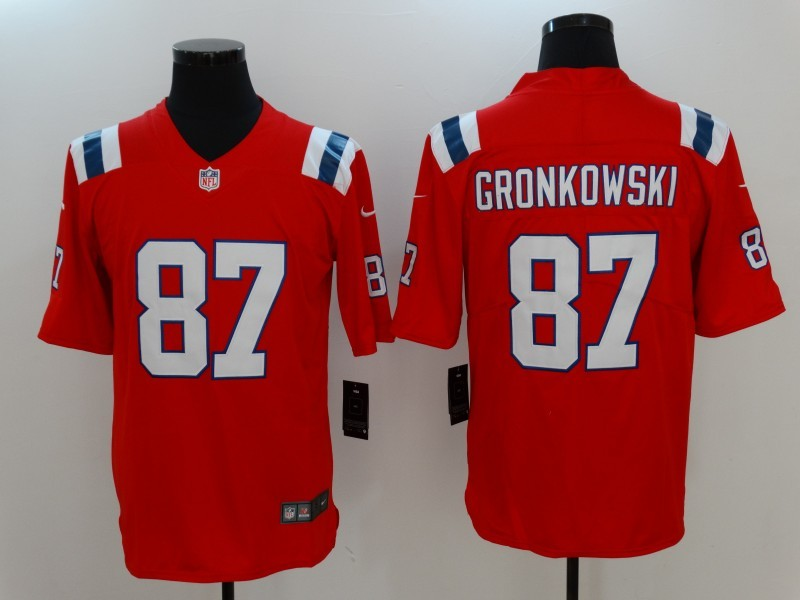 quality design 9499e 18cd7 Men New England Patriots 87 Gronkowski Red Nike Vapor ...