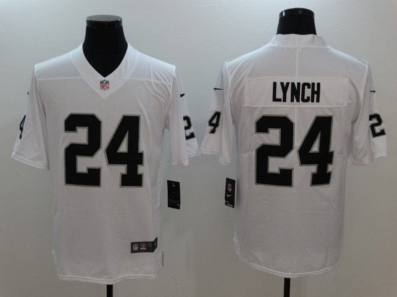 Men Oakland Raiders 24 Lynch White Nike Vapor Untouchable Limited Jersey