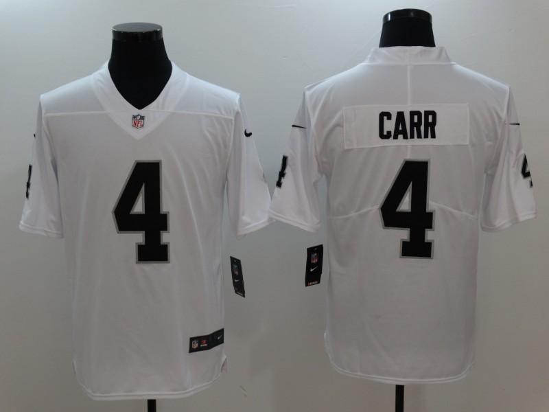 Men Oakland Raiders 4 Carr White Nike Vapor Untouchable Limited Jersey
