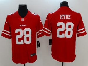 Men San Francisco 49ers 28 Hyde Red Nike Vapor Untouchable Limited Jersey