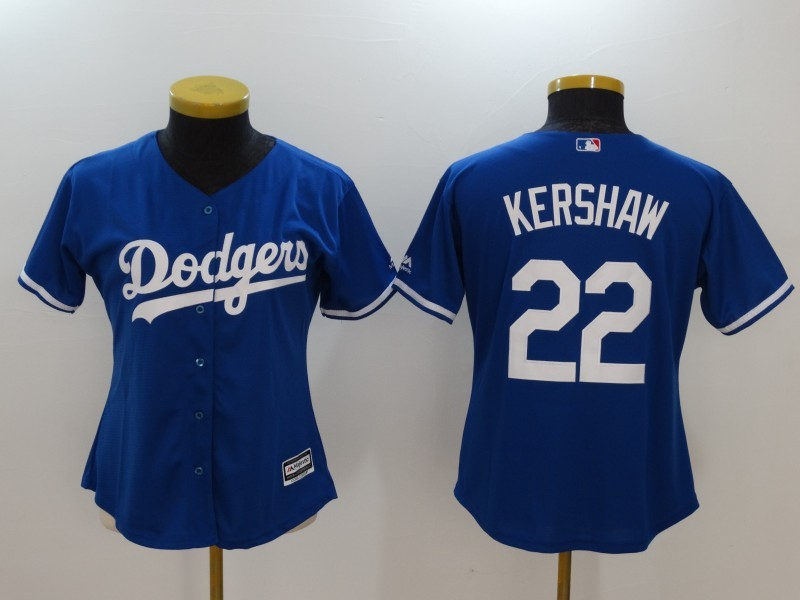 Womens 2017 MLB Los Angeles Dodgers 22 Kershaw Blue Jerseys
