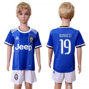 2016-2017 club Juventus away kids 19 Blue Soccer Jersey