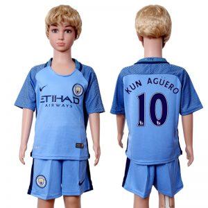 2016-2017 club Manchester city home kids 10 Blue Soccer Jersey