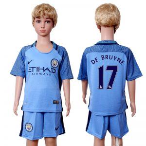 2016-2017 club Manchester city home kids 17 Blue Soccer Jersey