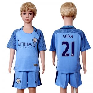 2016-2017 club Manchester city home kids 21 Blue Soccer Jersey