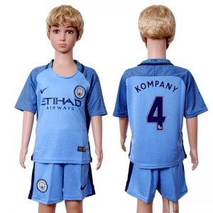 2016-2017 club Manchester city home kids 4 Blue Soccer Jersey
