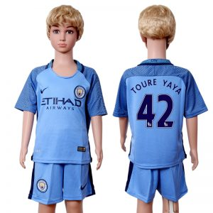2016-2017 club Manchester city home kids 42 Blue Soccer Jersey
