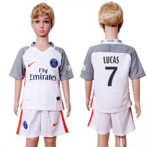 2016-2017 club Paris St Germain second away kids 7 White Soccer Jersey