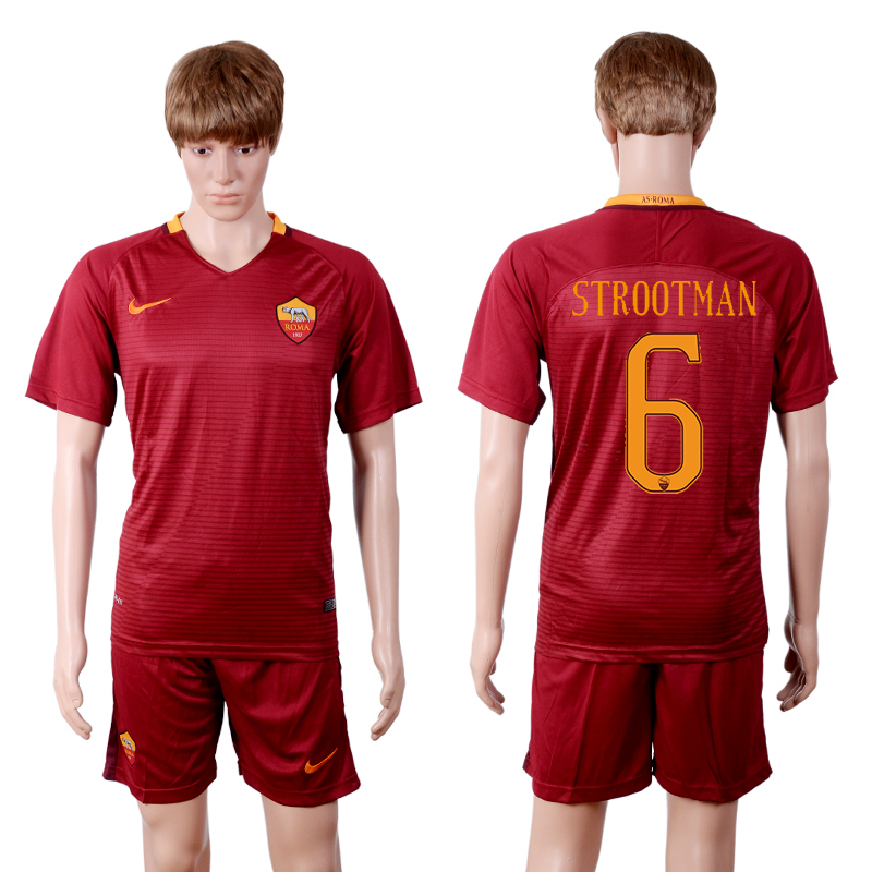 2016-2017 club Rome home 6 Red Soccer Jersey